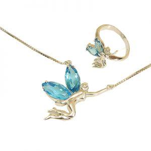 نیم ست با الماس و توپاز آبی با کد محصول H.S.0013