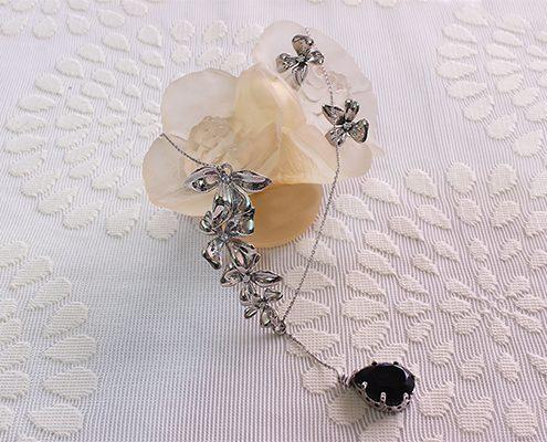 نیم ست با سنگ اونیکس و الماس با کد محصول H.S.0015