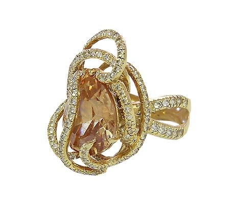انگشتر با سنگ سیترین و الماس با کد محصول RI.0011