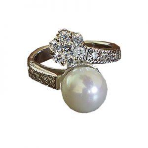 انگشتر با مروارید و الماس با کد محصول RI.0016