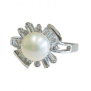 انگشتر با مروارید و الماس با کد محصول RI.0021