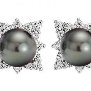 گوشواره با سنگ الماس و مروارید با کد محصول EA.0012