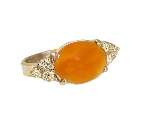 انگشتر با سنگ عقیق و الماس با کد محصول RI.0032