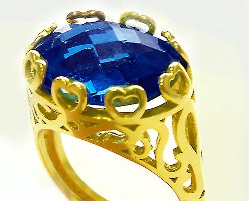 انگشتر با سنگ یاقوت کبود آبی با کد محصول RI.0033