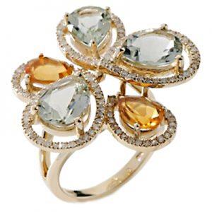 انگشتر با سنگ الماس، سلستیت و سیترین با کد محصول RI.0036