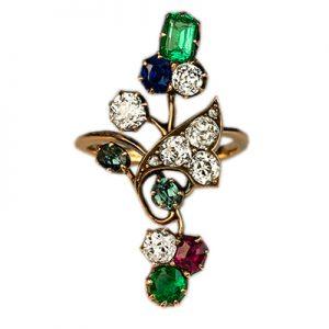 انگشتر با سنگ یاقوت سرخ، الماس، زمرد و تورمالین سبز با کد محصول RI.0038
