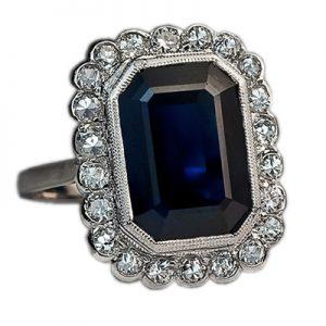 انگشتر با سنگ یاقوت کبود آبی و الماس با کد محصول RI.0040