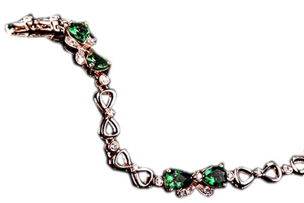 دستبند با سنگ زیرکن سبز و سفید با کد محصول BR.0016