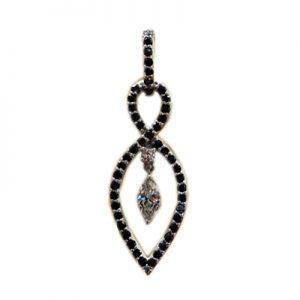 آویز با سنگ الماس سفید و سیاه با کد محصول ME.0016