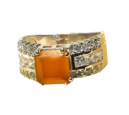 انگشتر عقیق و الماس با کد RI.0043