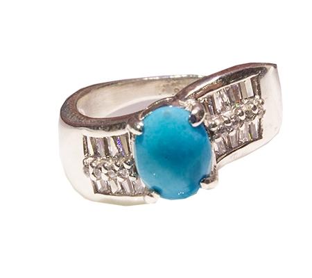 انگشتر فیروزه و الماس با کد RI.0045