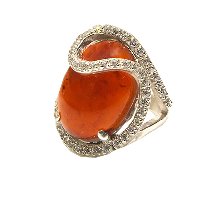 انگشتر عقیق یمن و الماس با کد RI.0046