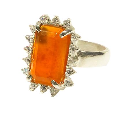 انگشتر عقیق یمن و الماس با کد RI.0047