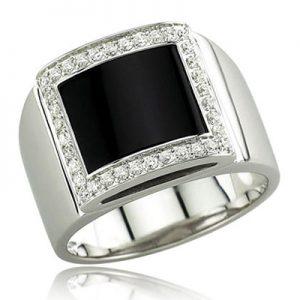 MAN RING, ONYX, DIAMOND, M.RI.0008