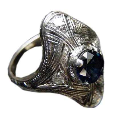 انگشتر یاقوت کبود آبی و الماس با کد RI.0050