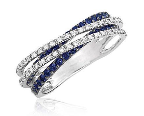 حلقه الماس و یاقوت کبود آبی WE.RI.0006