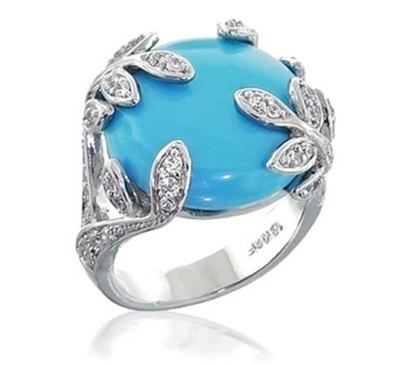 انگشتر فیروزه و الماس با کد RI.0053