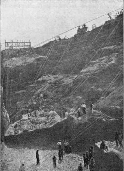 بخش داخلی معدن الماس کیمبرلی (Kimberley Diamond Mine) در سال 1874